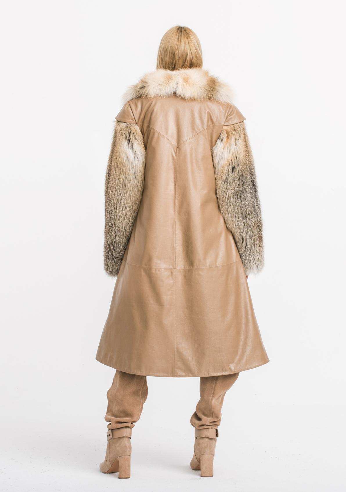 kurtki płaszcze puchowe włoskie z kojotem